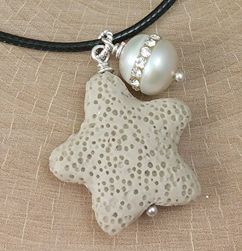 Summer Essential Oil Diffuser Necklace Aromatherapy Perfume Lava Stone Starfish Pendant with a Pave Freshwater Pearl on a Cream Waxed Cotton ()