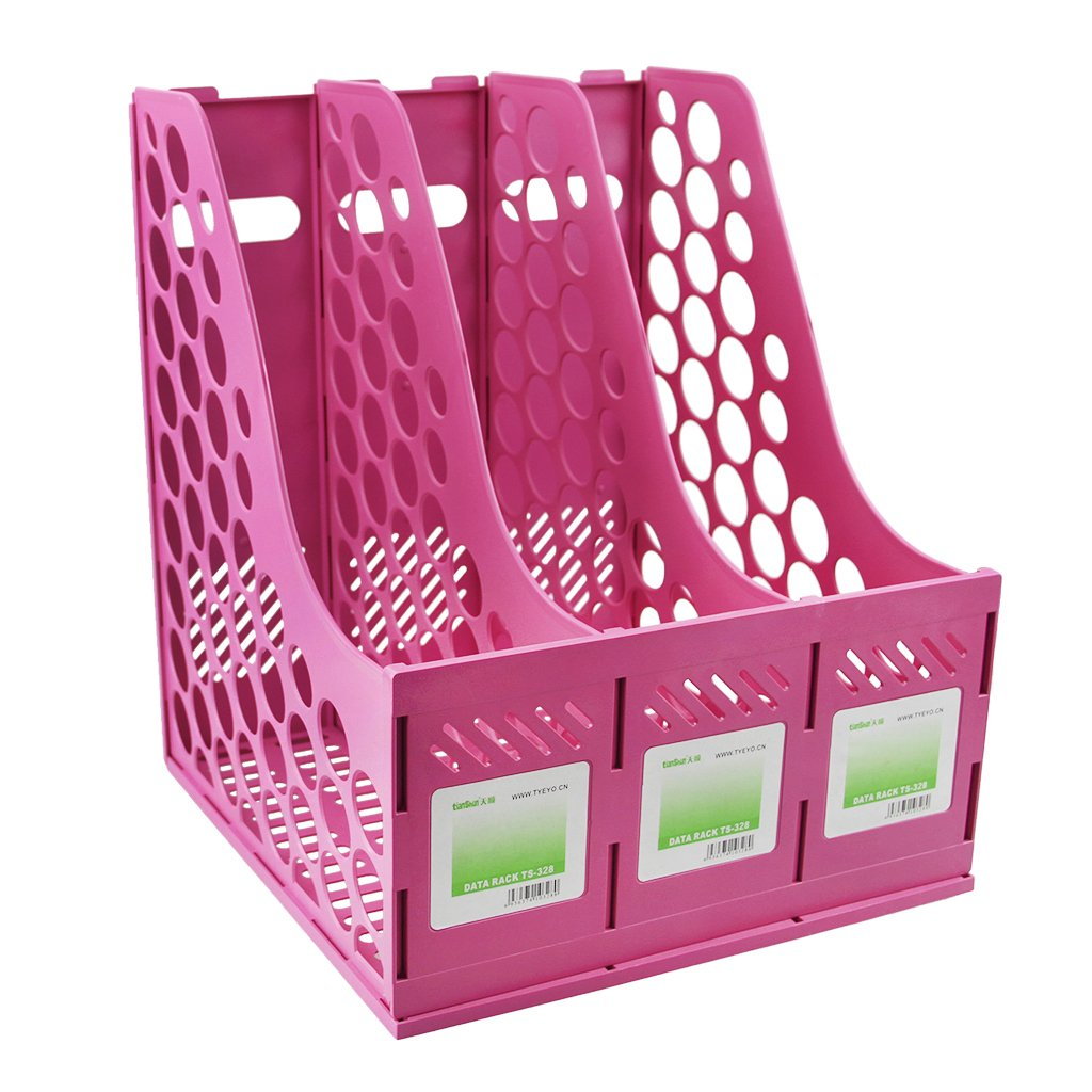 Organizer da scrivania con 3 scomparti scuola e casa Misura unica rosa colore pastello in plastica resistente Ruixia ideale per ufficio