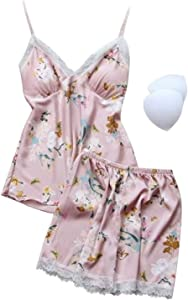 Shability Women Satin Pajamas Set Sexy Silk Pajamas Sleeping Clothes Sleeping Clothes Soft Pajamas Home Clothes with Chest Pad yangain (Color : Color 9, Size : XX-Large)