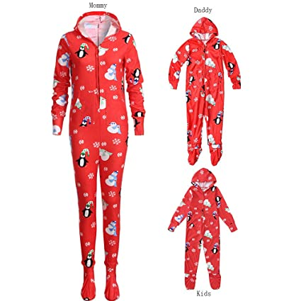 a7afb2dcc0 Iusun Matching Family Pajamas Christmas Snowflake Hooded Romper Jumpsuit  Sleepwear Flannel PJs for Men Women Baby