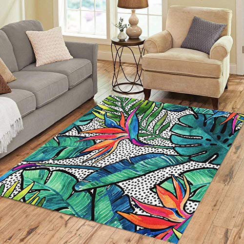(Pinbeam Area Rug Watercolor Tropical Leaves and Flowers Contour Watercolour Monstera Home Decor Floor Rug 5' x 7' Carpet)