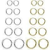10 Pairs Stainless Steel Rounded Small Hoop Earrings Set Cute Huggie Earrings for Women Nickel Free,10MM-18MM