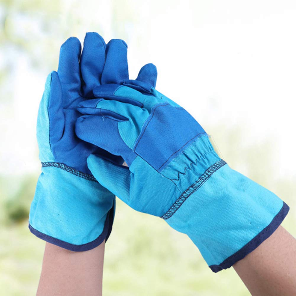 Xgxyklo Children Gardening Planting Gloves, Anti-Cutting Wear-Resistant Breathable Thickening Protective Gloves,Blue,10Pair by Xgxyklo (Image #2)