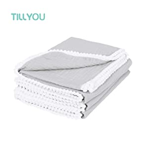 """TILLYOU 100% Soft Cotton Muslin Swaddle Blanket with Pom Pom, 44""""x44"""" Large - Fits Toddler Bed/Baby Crib/Newborn Stroller, Breathable Thermal Security Blanket for Receiving, Swaddling, Sleeping, Gray"""