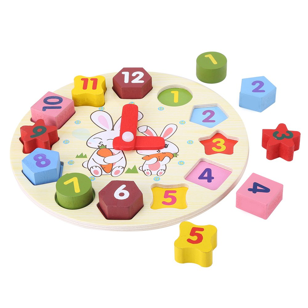 Kinder Puzzle Uhr Cartoon Kaninchen Puzzle Educational Holz Digitale Geometrie Uhr Spielzeug-Set Fdit