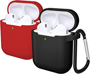 Laffav AirPods Case Silicone Protective Cover (Front LED Visible) for Women Men Compatible with Apple AirPods 2 & 1 , 2 Pack, Black, Red