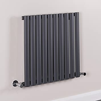 Horizontal Column Designer Radiator Sand Grey Single Oval Flat Panel   600  X 600 Mm