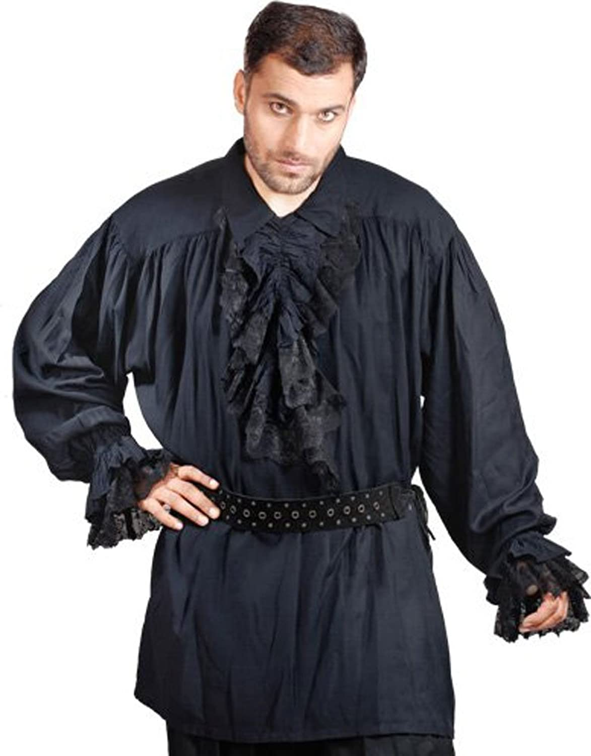 39b3b451abd ... Men s Black Pirate Renaissance Shirt with Detachable Lace Ruffles