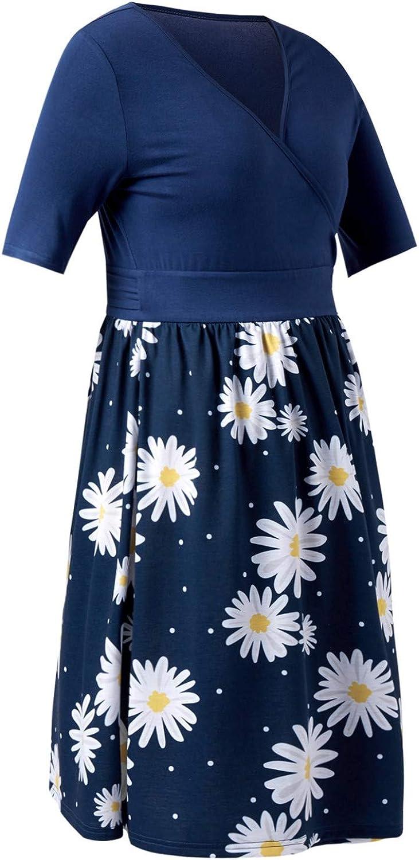 IFFEI Maternity Nursing Floral Dress for Women Breastfeeding Pregnancy Short Sleeve V Neck Maxi Dress