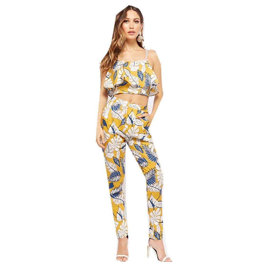 MV Women New Irregular Sling Petal Top Printing Feet Pants Two-Piece