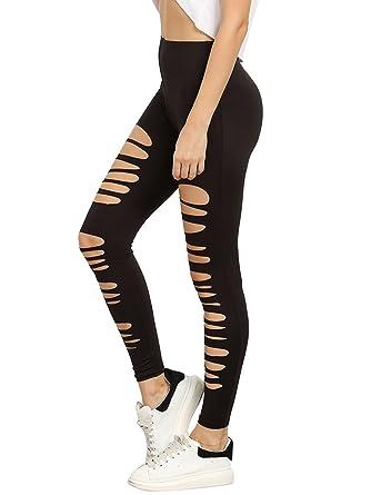 0dafab9b69638 SweatyRocks Women's High Waisted Cutout Ripped Skinny Leggings Yoga Active  Pants Black XS