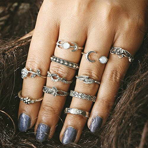 Setita 11 Pieces Turkish Retro Elephant Moon Rose Carving Joint Knuckle Nail Midi Ring Set Boho Ring Set (Ancient Silver) (Turkish Silver Bead)