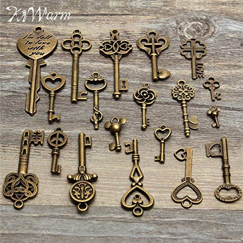 ZAMTAC Dedicate 19pcs Antique Vintage Old Look Skeleton Key Pendant Heart Bow Lock Steampunk Necklace Hanging Decor DIY Crafts ()