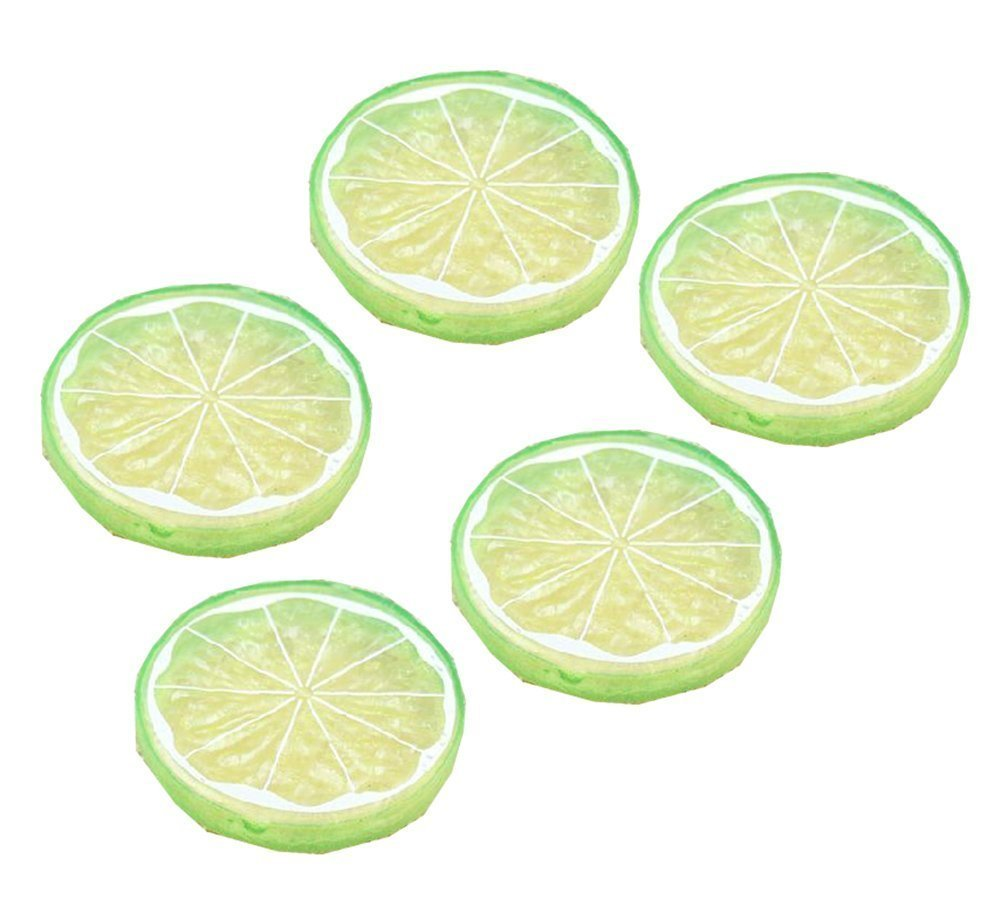 Qingsun 5Pcs Artificial Lemon Slice Artificial Fruits Home Decoration Fake Lemon Slice Food Fruit(Green)