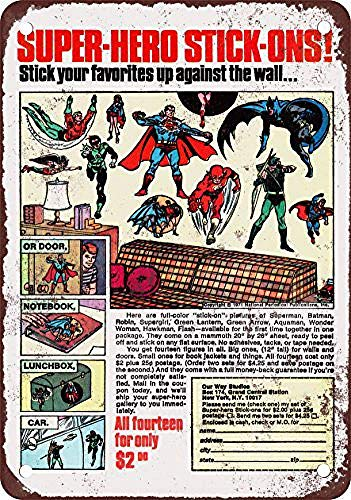 (LMCR 1972 Super Hero Stick-Ons Iron Poster Painting Tin Sign Vintage Wall Decor for Cafe Bar Pub Home)