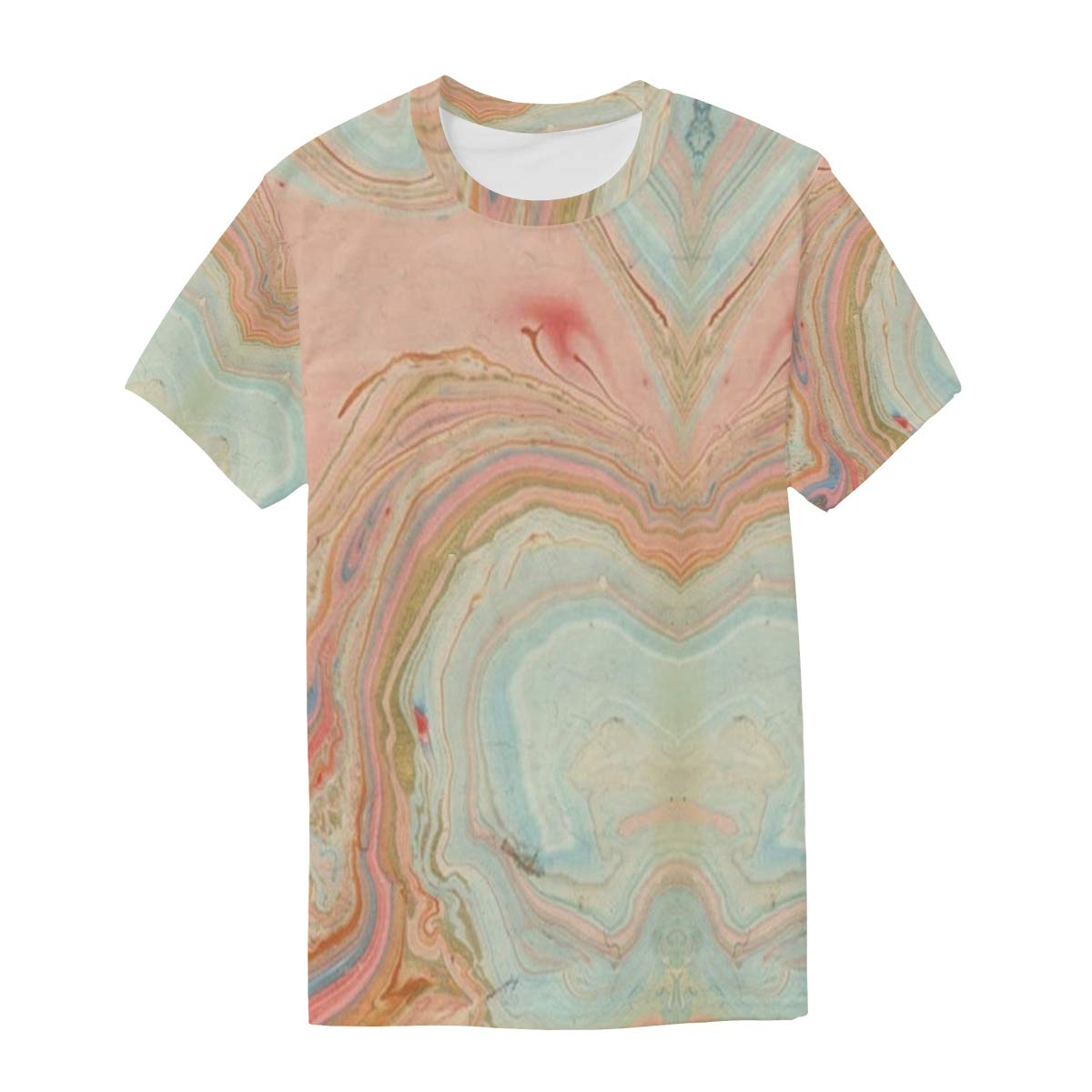 Horatiood Huberyyd Peach Marble Swirl Mens T Shirts Graphic Funny Body Print Short T-Shirt Unisex Pullover Blouse