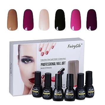 Amazon nail polish uv led soak off nail art gel manicure nail polish uv led soak off nail art gel manicure gift set 6pcs fairyglo 7ml 00006 prinsesfo Image collections