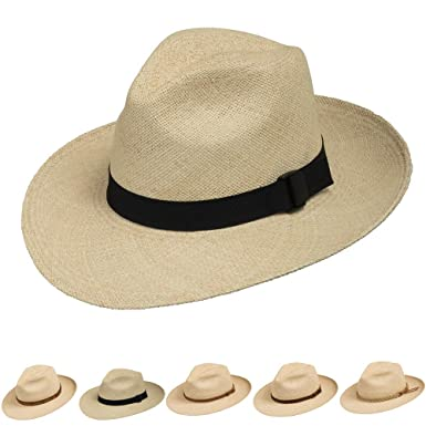 8493ef023d1 Fedora Packable Foldable Panama Straw Hat Classic at Amazon Men s ...
