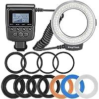 Agomike 48 Macro LED Ring Flash Bundle con Pantalla LCD Anillos adaptadores y difusores de Control de Potencia para Canon para Nikon DSLR