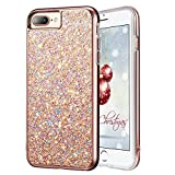 """iPhone 7 Plus Glitter Case, iPhone 8 Plus Case, MIRACASE Glitter Bling Soft TPU Inner Shockproof Hard PC Cover Protective Case for Apple iPhone 8 Plus /7 Plus/ 6 Plus/6S Plus (5.5""""), Rose Gold"""