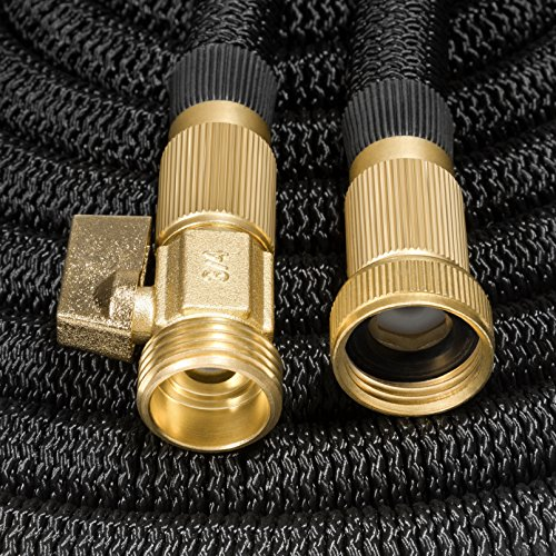 """50ft Garden Hose - ALL NEW Expandable Water Hose with Double Latex Core, 3/4"""" Solid Brass Fittings, Extra Strength Fabric - Flexible Expanding Hose with Storage Bag for Easy Carry by Hospaip"""