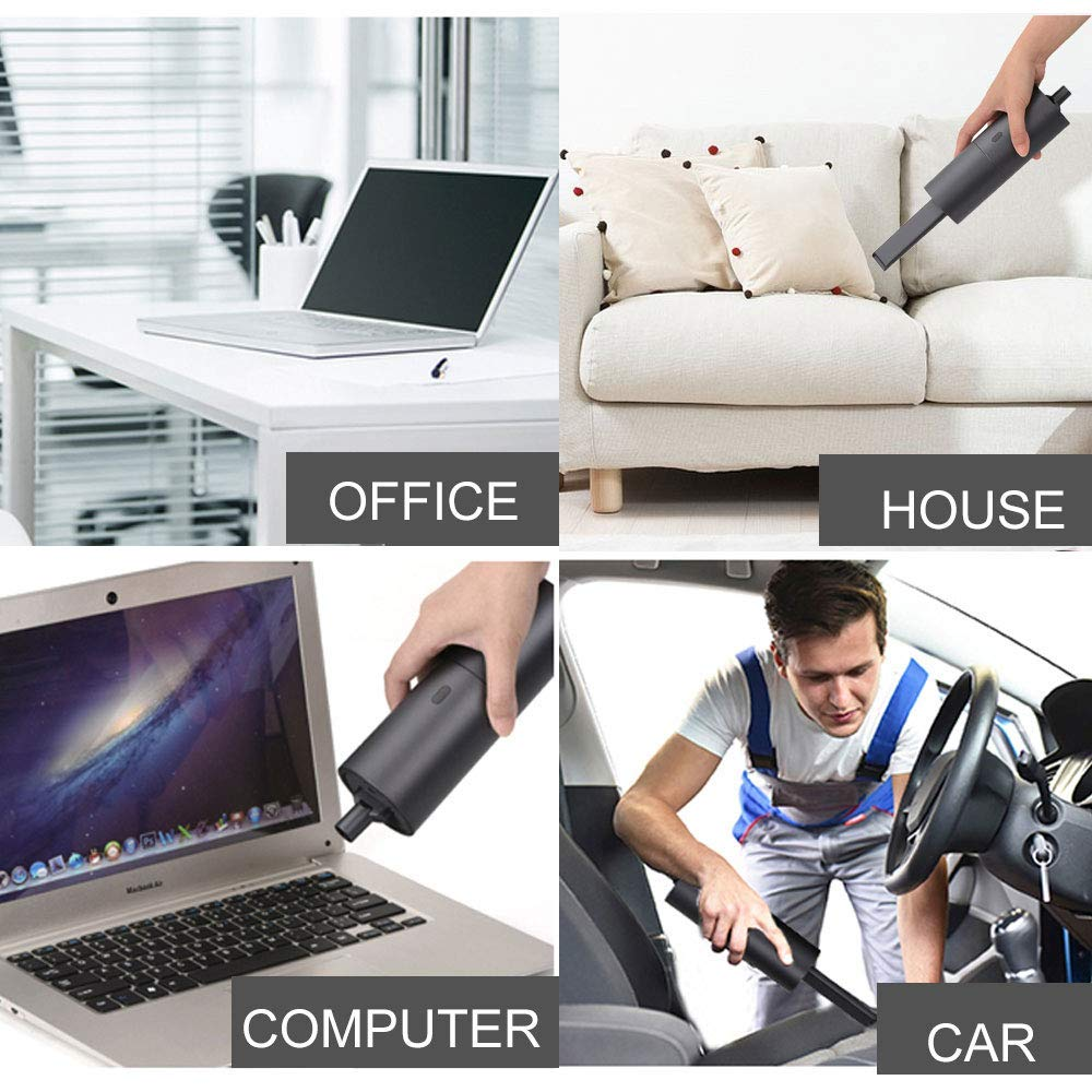 HONKYOB Handheld Vacuum,USB Rechargeable Computer Keyboard Cleaner Car Vacuum Cyclone Suction Cordless Hand Vac Lithium Battery Powered with Quick Charge Technology for Your Car,Home,Office,Pet Hair