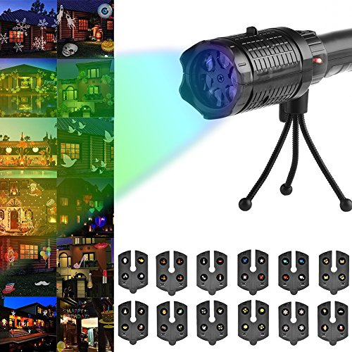 blue--net Holiday/Christmas/Halloween Led Projector Lights Flashlight Card Insertion Light Film lamp with 12pcs Switchable Patterns for Halloween, Christmas, Thankgiving Party, Garden Decoration -