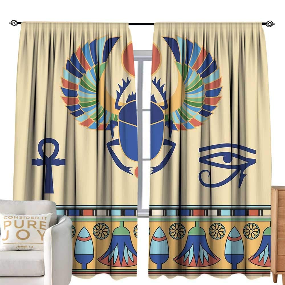 cobeDecor Blackout Bedroom Curtain Egyptian Ancient Antique Historical Culture Icon of Scarab Eye with Ornaments Print Multicolor Soft Texture W84 xL84
