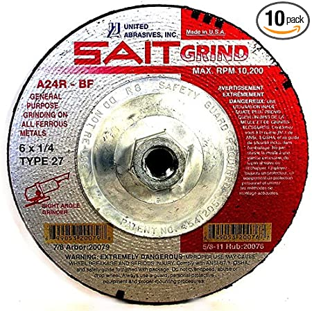 United Abrasives-SAIT 20063 Type 27 4-1//2-Inch x 1//4-Inch x 7//8-Inch Grade A24R Long Life Depressed Center Grinding Wheels 25-Pack