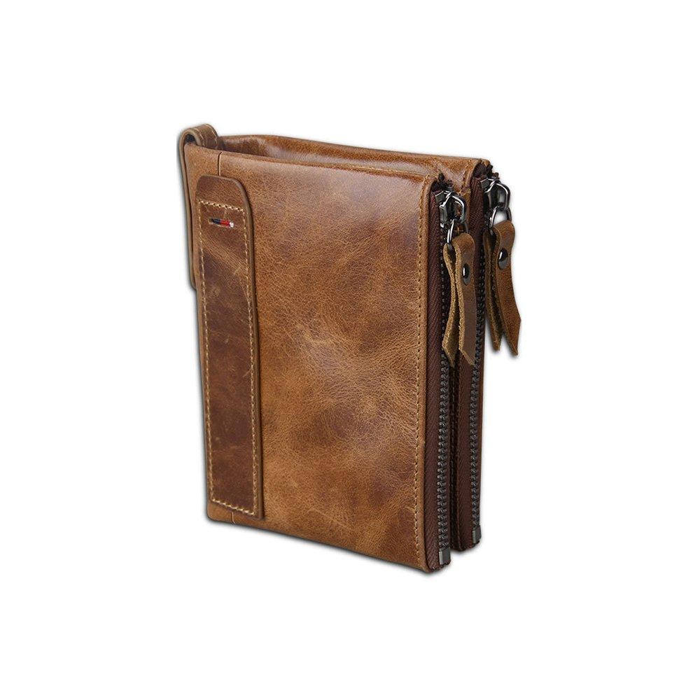 Artwell Men RFID Blocking Wallet Vintage Genuine Leather Short Purse Double Zip Bifold Wallet Money Clip Unisex (Brown)
