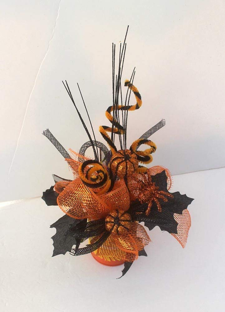 Halloween pumpkin arrangement, Halloween Party Centerpiece, halloween decor, small table arrangements, table decorations, orange and black