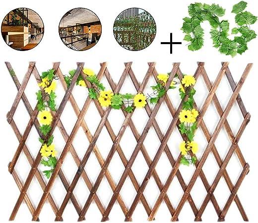 YOGANHJAT Celosía Madera para Jardin Enrejado Extensible Soporto bambú Valla Enrejado del Sauce Decoración de balcón con Vid Verde marrón,150 * 52cm/59 * 20.4in: Amazon.es: Hogar