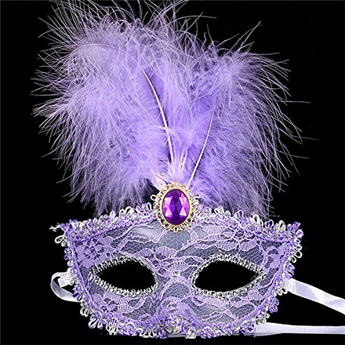 Morrenz - 2016 New Party Masks Masquerade Masks Halloween Christmas Feather Mask Fashion Women Sexy Half Face Masked [ Purple ]