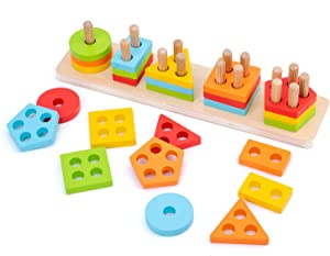 WOOD CITY Wooden Sorting & Stacking Toy, Shape Sorter Toys for Toddlers, Montessori Color Recognition Stacker, Early Educational Block Puzzles for 1 2 3 Years Old Boys and Girls (5 Shapes)