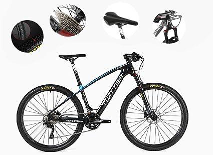 Bicicleta Todoterreno para Adultos, Adecuada para La Altura 170-185Cm, Freno De Disco De Aceite M6000-30, Logo Mágico Reflectante, Bicicleta De Montaña De 5 Colores, Material De Fibra De Carbono,Blue: Amazon.es: Deportes y