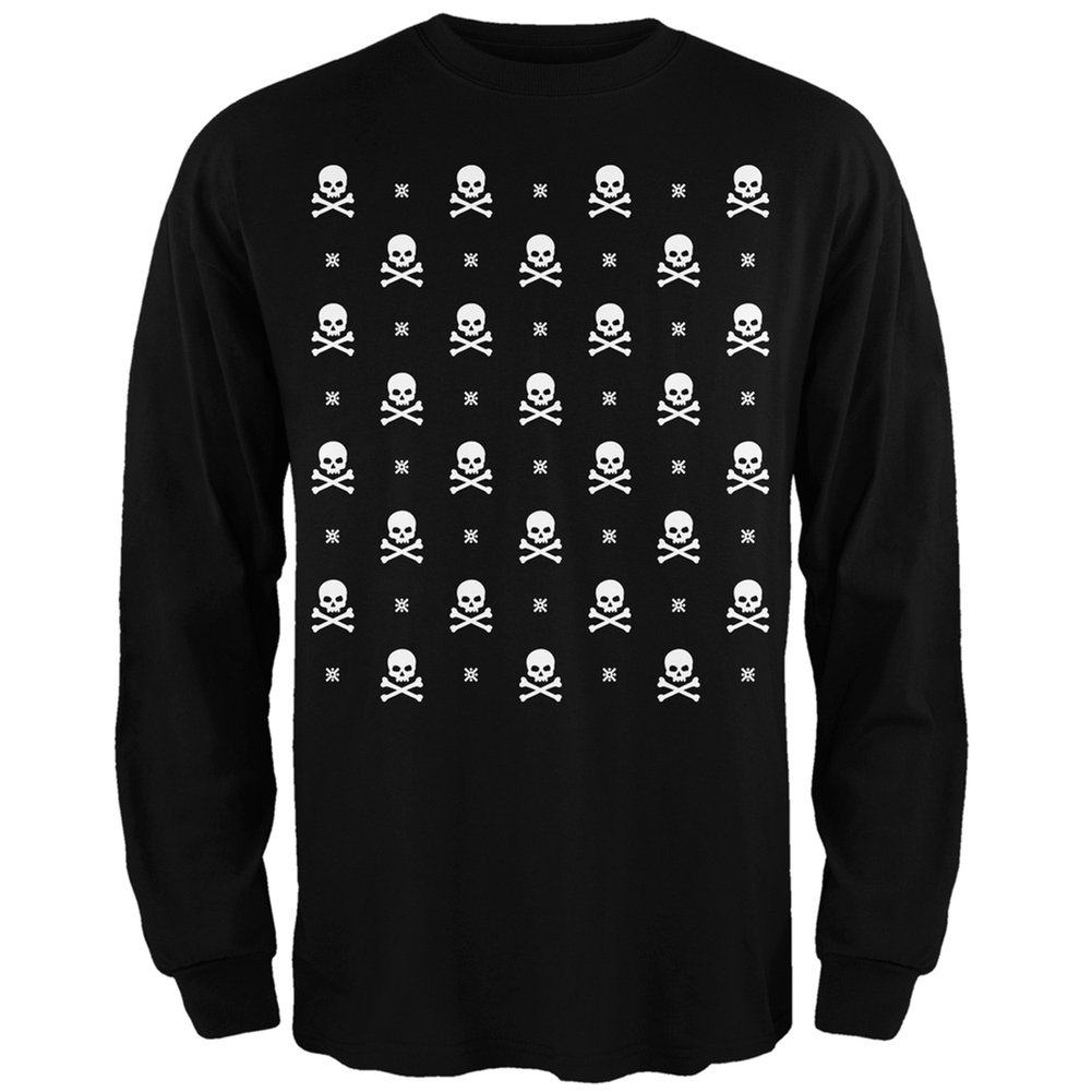 Skull And Crossbones Snowy Ugly Christmas Sweater Black Long Sleeve T-Shirt Tees Plus