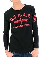 (マルカワジーンズパワージーンズバリュー) Marukawa JEANS POWER JEANS VALUE Tシャツ メンズ ブランド 長袖 ロンT ロゴ ミリタリー エアフォース ワッフル サーマル 8color