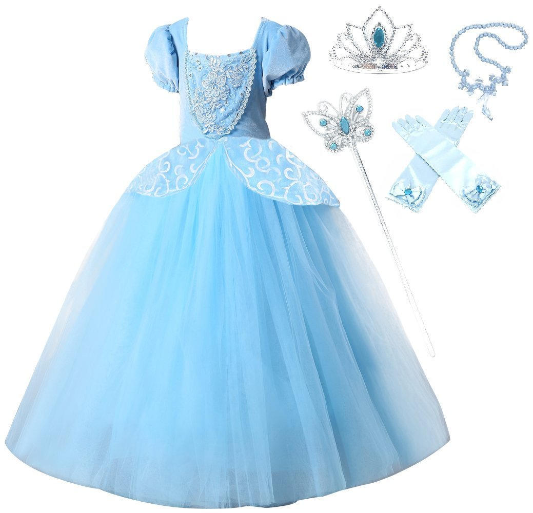 Romy's Collection Princess Cinderella Special Edition Blue Party Deluxe Costume Dress-Up Set (Blue, 4-5)