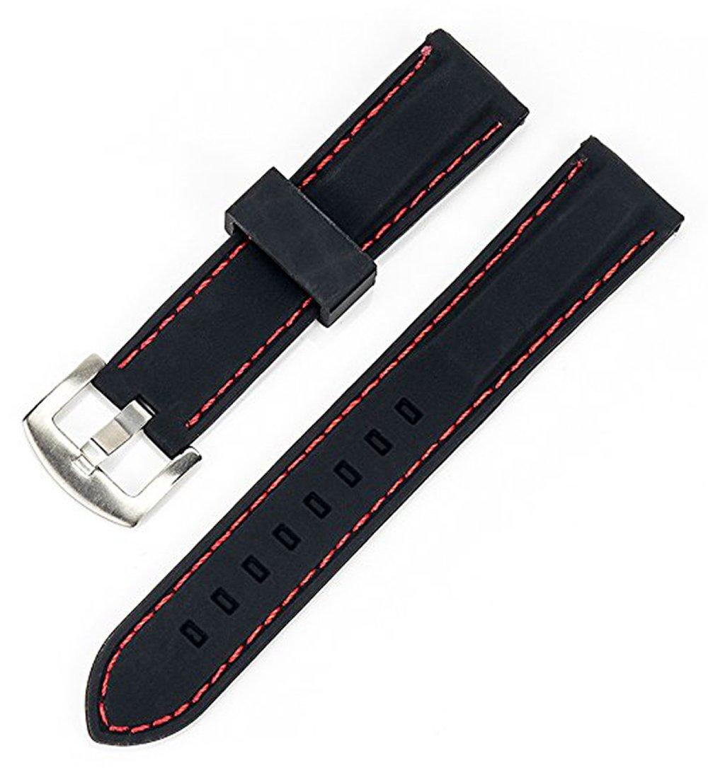 TON CHARME 防水 シリコン 腕時計ベルト 18/20/24mm ブラックにレッド/オレンジ/ブルー/ホワイト/パープル/イエローのスティッチ 24mm Red Stitching 24mm|Red Stitching Red Stitching 24mm B01K9XPJ2G
