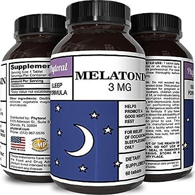 Best All Natural Sleep Aid – Pure Melatonin Supplement – Gentle 3mg Dosage – Fall Asleep Fast + Easier – Deep Calm + Restful Circadian Rhythms – Non Habit Forming Sleep Cycle Hormone
