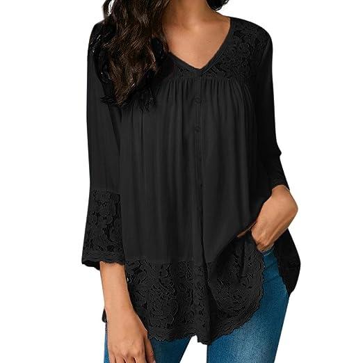 923415c0a1d46 AliveGOT Women Lace Tops V Neck Long Sleeve Casual Loose Blouse Shirt Plus  Size (Black