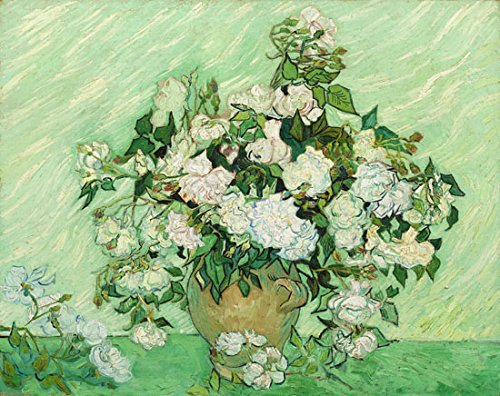 Beautiful Hand Painted Floral Vase (QICAI 100% Hand-painted oil paintings white blooming flowers of Van Gogh oil painting Canvas Prints Giclee Artwork for Wall Decor decor gift,Ready To)