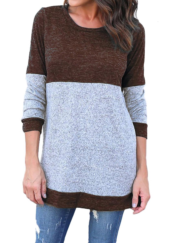 Ankosen Women Cotton Knitted Long Sleeve Lightweight Sweatshirt Tops Tunics