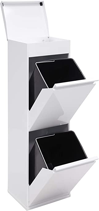 Arregui Top CR221-B Cubo de Basura y Reciclaje de Acero de 2 Cubos y Bandeja Superior Multiusos, Blanco, 97.5 x 30.6 x 24.4 cm: Amazon.es: Bricolaje y herramientas