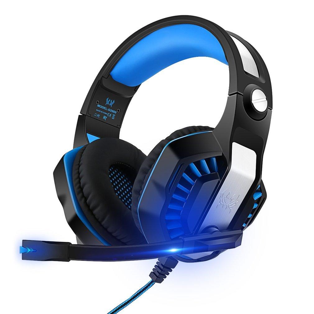 Cuffie da Gioco G2000 Gaming con LED PC PS4 Stereo MP3 con Microfono Compatibile con Xbox Ones Smartphone Regolatore Volume Insonorizzato Blu e Nero (G2000 II Generazione) Greenskon