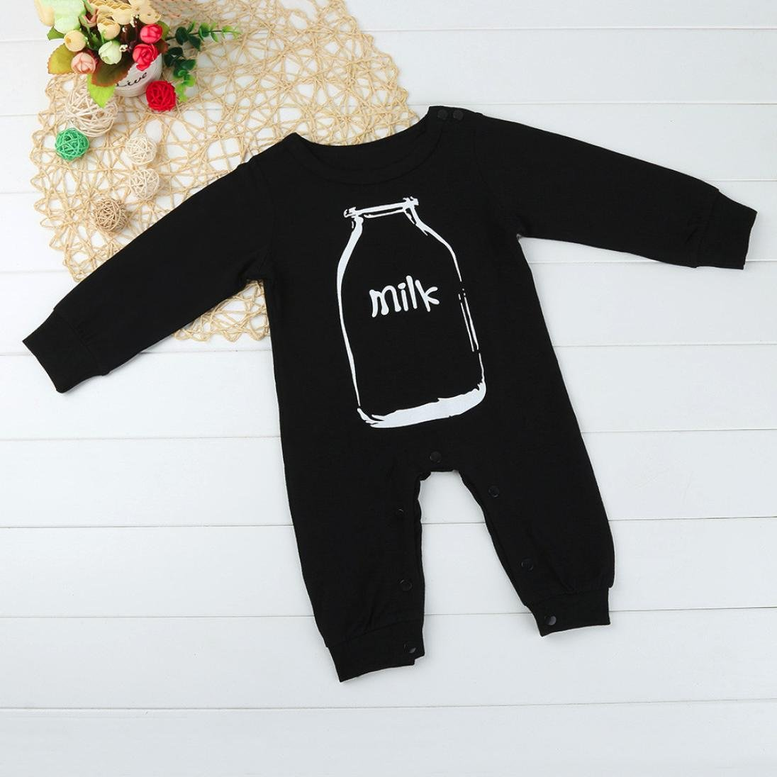 Newborn Infant Baby Boy Girl Long Sleeve Milk Letter Romper Jumpsuit Outfits Clothes SHOBDW Boys Rompers