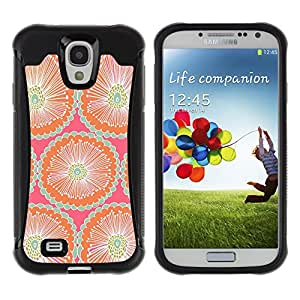WAWU Funda Carcasa Bumper con Absorci??e Impactos y Anti-Ara??s Espalda Slim Rugged Armor -- floral pattern pink teal peach wallpaper -- Samsung Galaxy S4 I9500