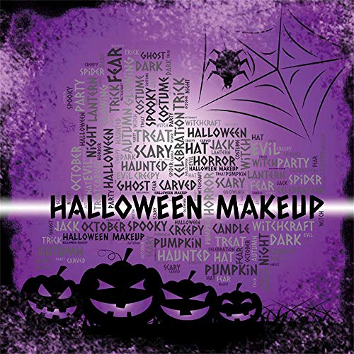 Laeacco 8x8ft Halloween Make Up Party Backdrop Vinyl Gloomy Nightscape Creepy Grimace Pumpkin Lamps Cobweb Spider Illustration Background Trick Or Treat Party Banner Child Baby Shoot -