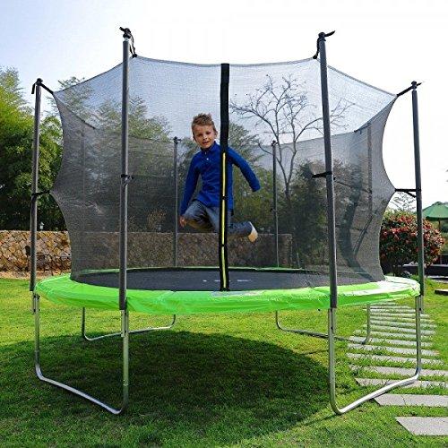 ISE Kindertrampolin mit Sicherheitsnetz, Leiter und Verankerungsset, Durchmesser 305 cm - sy1110