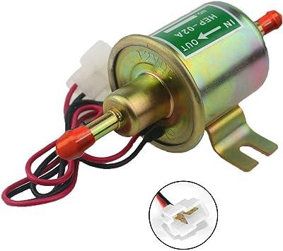 CarBole Electric Fuel Pump Inline Low Pressure Fuel Transfer Pump Universal 12V 2.5-4 PSI for Gas Diesel Driven Carburetor Engines